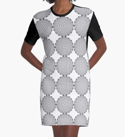 Dynamic Circle Chords II Black Graphic T-Shirt Dress