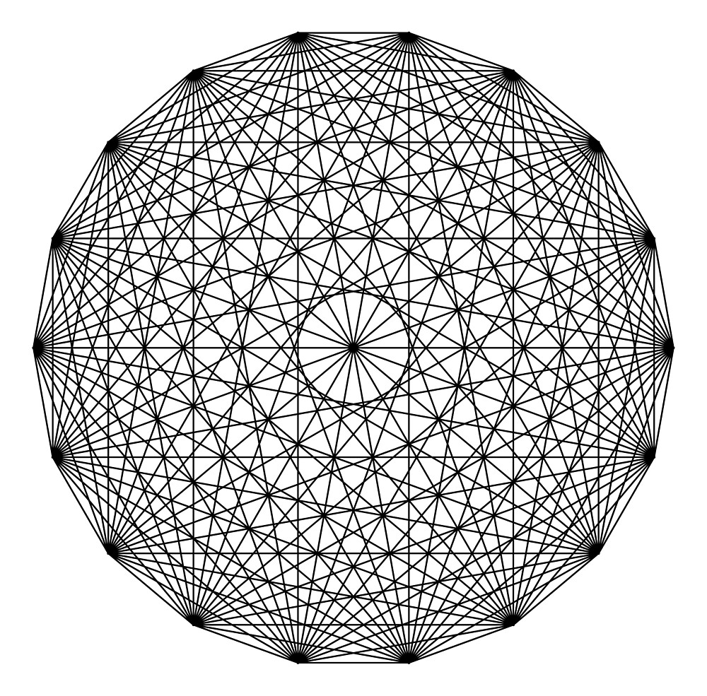 Dynamic Circle Chords II Black by Rupert Russell
