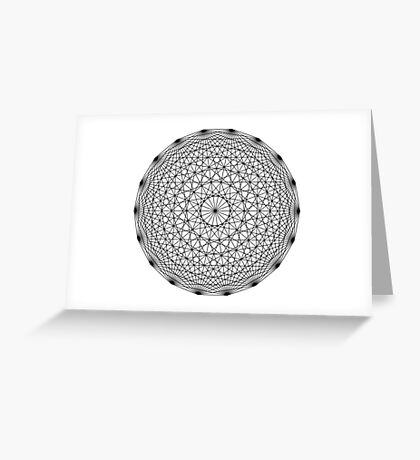 Dynamic Circle Chords II Black Greeting Card