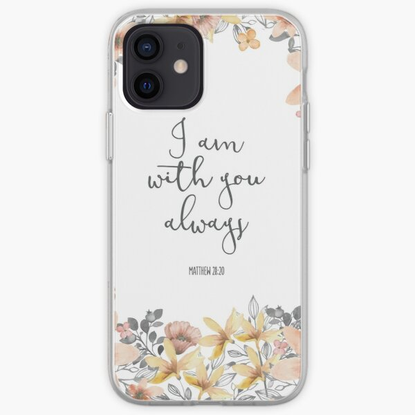 Bible Verse Watercolor Flowers iPhone Soft Case