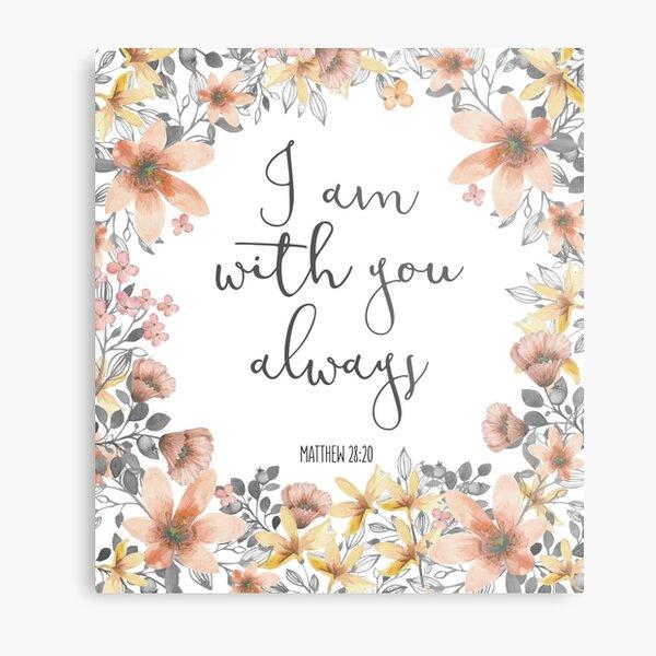 Bible Verse Watercolor Flowers Metal Print