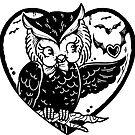 Cute Halloween Owl in Heart by Ella Mobbs
