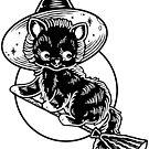 Black Halloween Witch Cat on Broom by Ella Mobbs