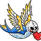Skull Tattoo Bluebird by Ella Mobbs
