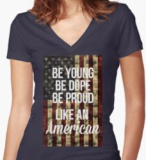 American Women's Fitted V-Neck T-Shirt