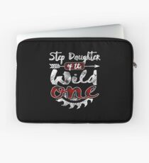Step Daughter of the Wild One Shirt Lumberjack Woodworker Buffalo Plaid measure once plaid pajamas cabinet maker contractor wood timber working tools Laptoptasche