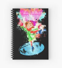 Girl skating ice watercolor painted Spiral Notebook