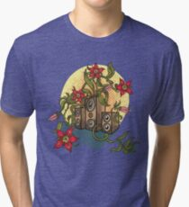 Summer illustration with music speakers and flowers.  Tri-blend T-Shirt