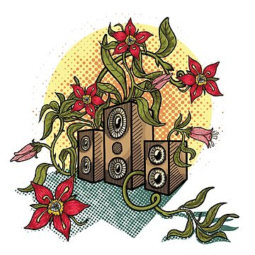 Summer illustration with music speakers and flowers.  by -ashetana-