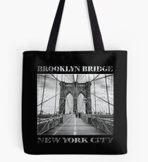 Brooklyn Bridge New York City (black & white with text on black) Tote Bag