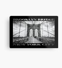 Brooklyn Bridge New York City (black & white with text on black) Metal Print