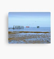 Harvesting the Mussels, The Wash, Hunstanton Canvas Print