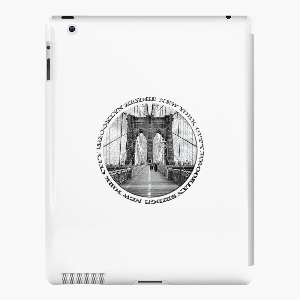 Brooklyn Bridge New York City (black & white badge style on white) iPad Cases & Skins