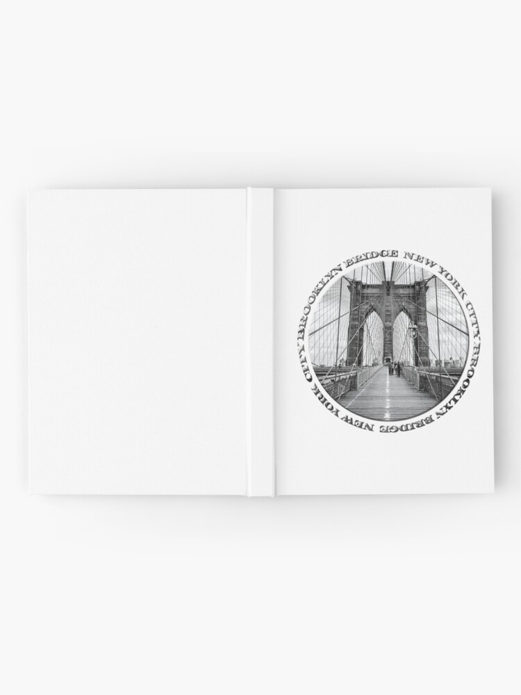 Alternate view of Brooklyn Bridge New York City (black & white badge style on white) Hardcover Journal
