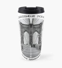 Brooklyn Bridge New York City (black & white badge style on white) Travel Mug