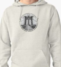 Brooklyn Bridge New York City (black & white badge emblem on white) Pullover Hoodie