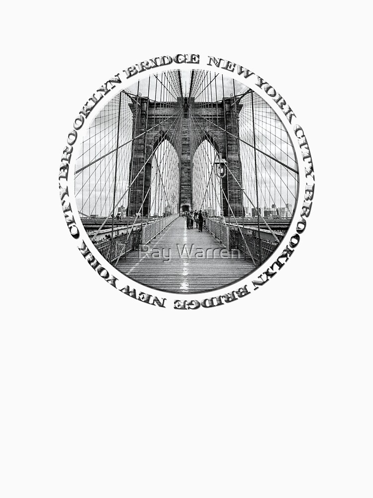 Brooklyn Bridge New York City (black & white badge style on white) by RayW