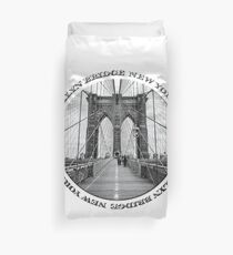 Brooklyn Bridge New York City (black & white badge emblem on white) Duvet Cover