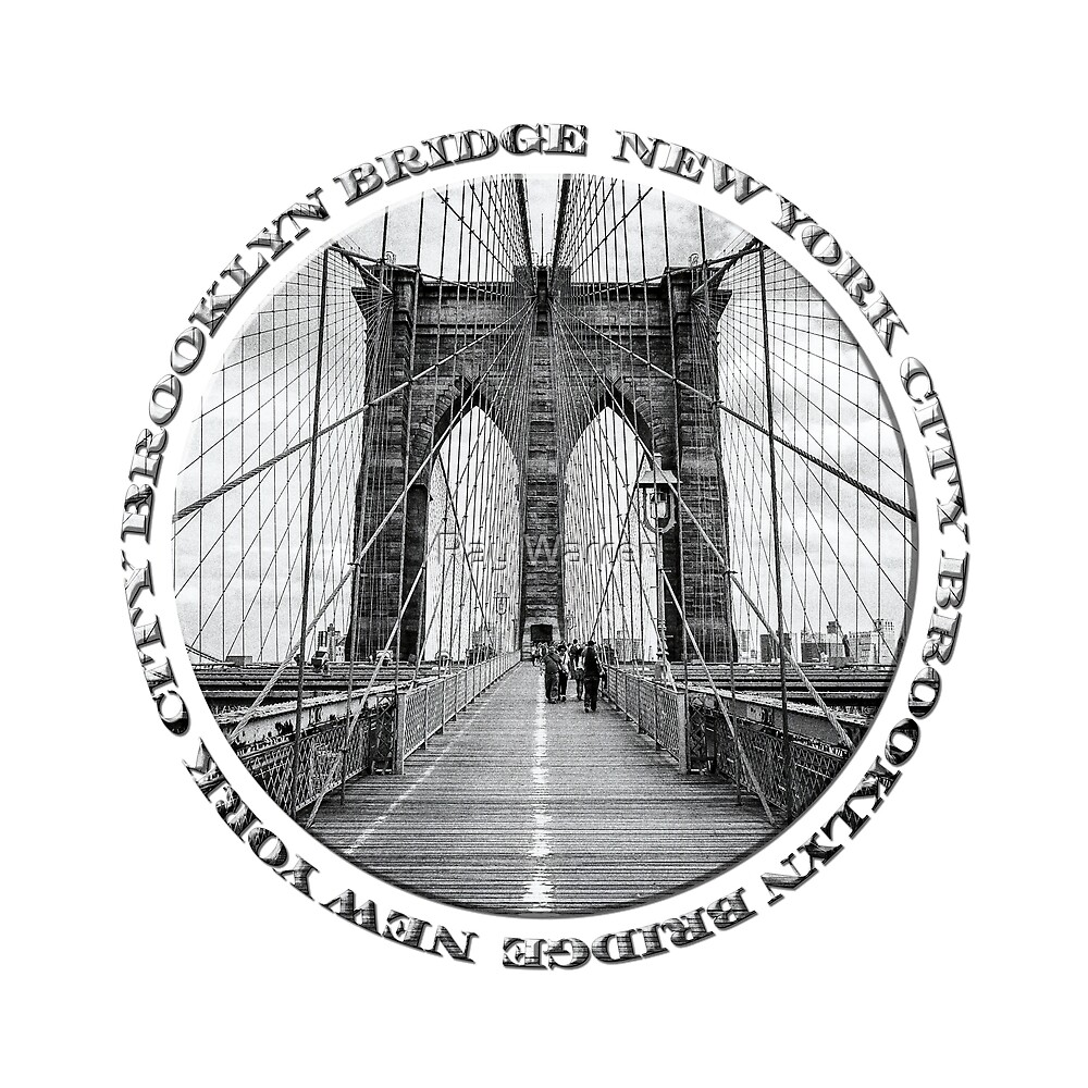 Brooklyn Bridge New York City (black & white badge style on white) by Ray Warren