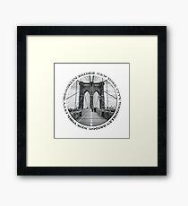 Brooklyn Bridge New York City (black & white badge style on white) Framed Print