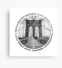Brooklyn Bridge New York City (black & white badge style on white) Metal Print