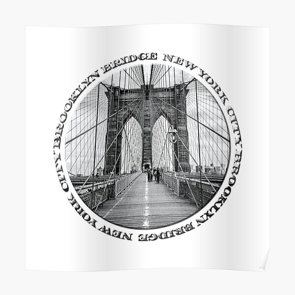 Brooklyn Bridge New York City (black and white badge style on white) Poster