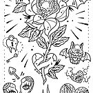 Bats and Roses Tattoo Flash by Ella Mobbs