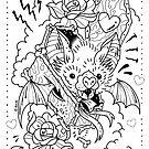 Bat Coffin Linework by Ella Mobbs