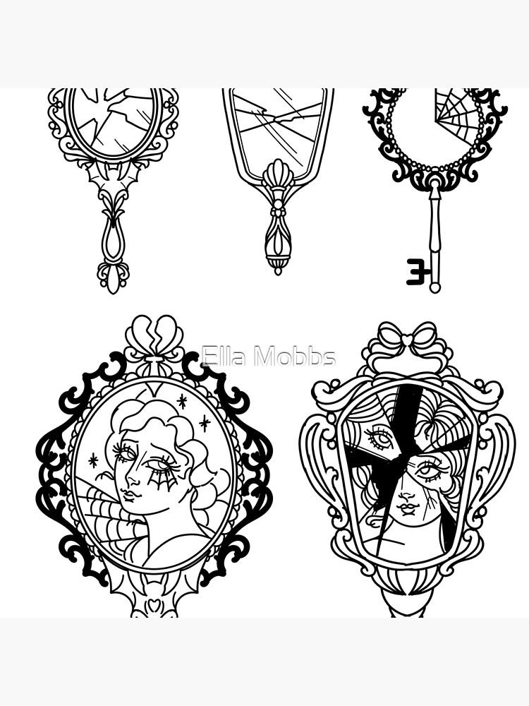 Ornate Broken Mirror Tattoo Flash Tote Bag By Ellamobbs Redbubble