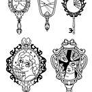 Ornate Broken Mirror Tattoo Flash by Ella Mobbs