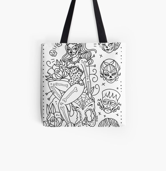 Ornate Broken Mirror Tattoo Flash Tote Bag By Ellamobbs Redbubble