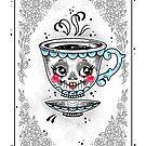 Skeleton Teacup Playing Card by Ella Mobbs