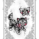Kitten and Skull Moth Playing Card by Ella Mobbs