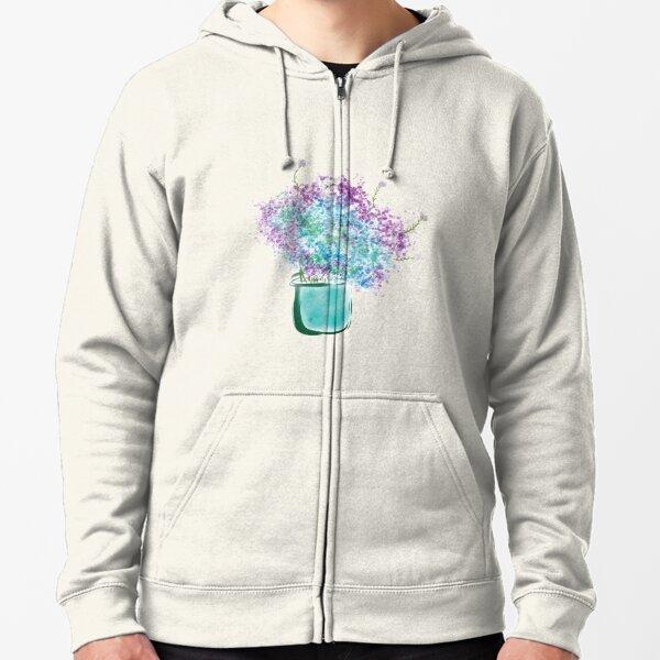 Watercolor Burst Of Colors Hydrangeas Zipped Hoodie