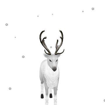 snow white deer by ViviennePoet