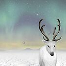 reindeer in the snow by Rachel Lawson