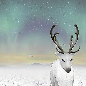 reindeer in the snow by ViviennePoet