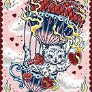 Up in Flames Kitten Balloon Print by Ella Mobbs