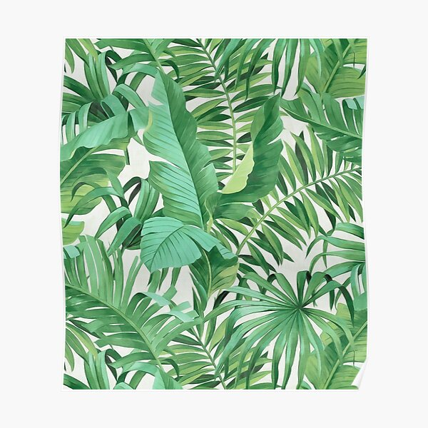 Green tropical leaves II Poster