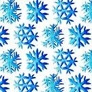 Blue Watercolor Snowflake Pattern by Boriana Giormova