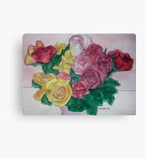 Pink & Yellow Roses II Canvas Print