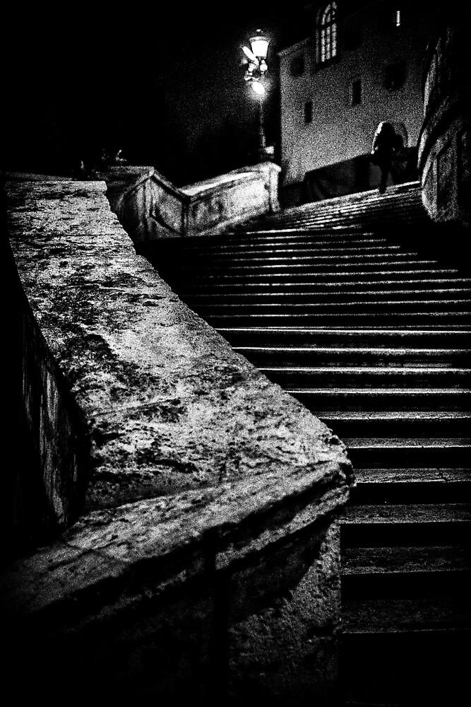 Una signora in cima dei gradini by Michael Carter