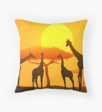 Giraffes & Sunset in African Safari   Throw Pillow