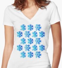 Blue Watercolor Snowflake Pattern Women's Fitted V-Neck T-Shirt