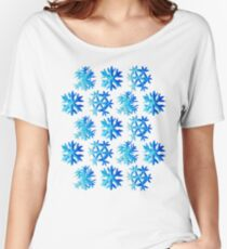 Blue Watercolor Snowflake Pattern Women's Relaxed Fit T-Shirt