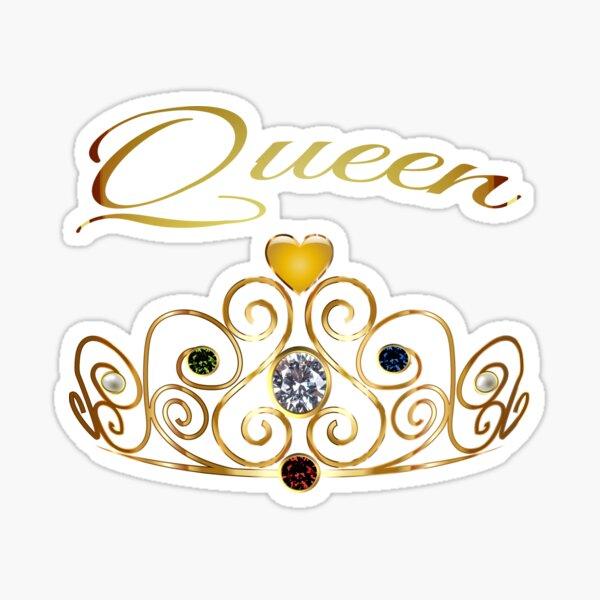 Zeichnung Queen Gold Krone Tiara Edelsteine Perle Prinzessin Sticker