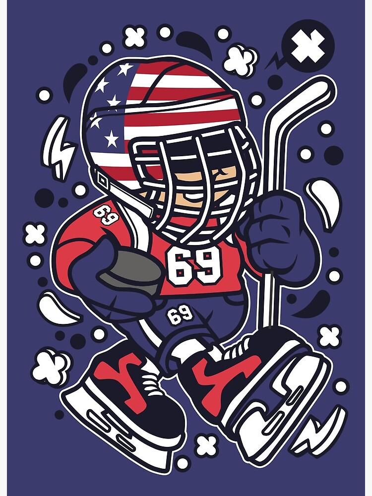 American Hockey Kid Cartoon Art Board Print By Dashirt Redbubble