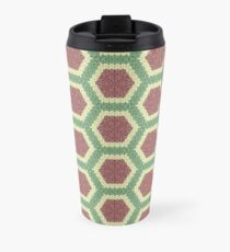 Knitted Hexagons in Pink, Green and White Travel Mug