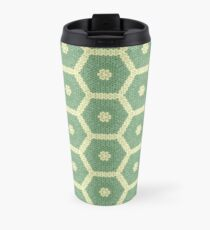 Green and White Knitted Hexagons Travel Mug