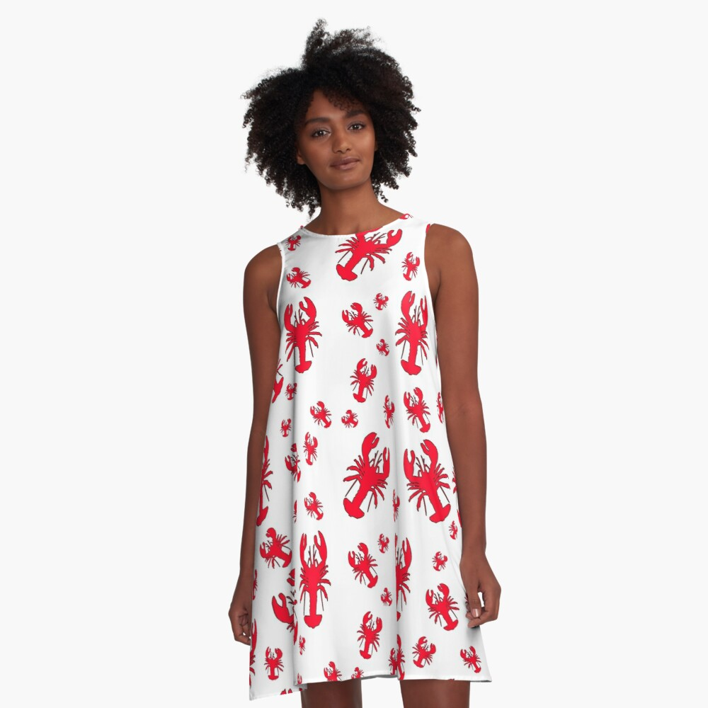 All Over Lobster Print A-Line Dress